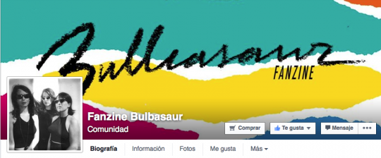 Captura de la página de fans del Fanzine Bulbasaur https://www.facebook.com/pages/Fanzine-Bulbasaur/316560271799548
