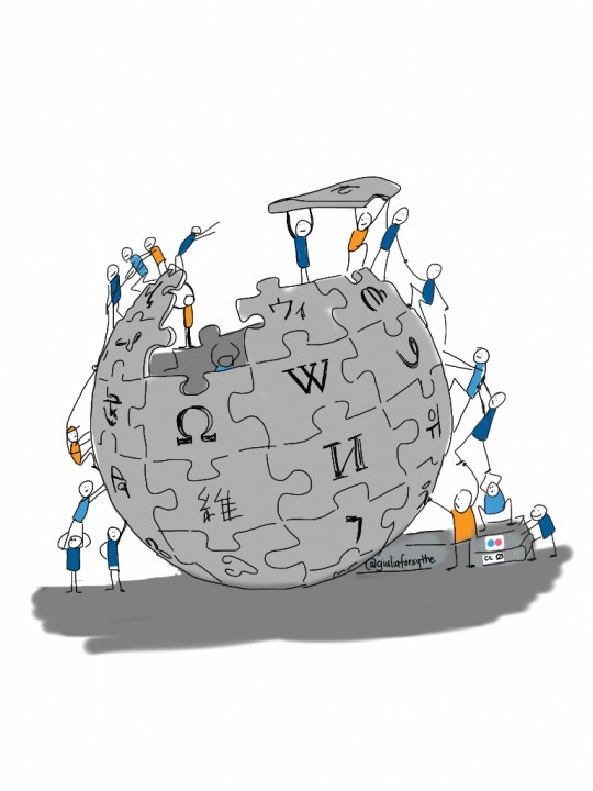 Aunque es sobre la wikipedia, puede valer para poner una imagen a construir un proyecto entre mucha gente... https://www.flickr.com/photos/gforsythe/8174197748/