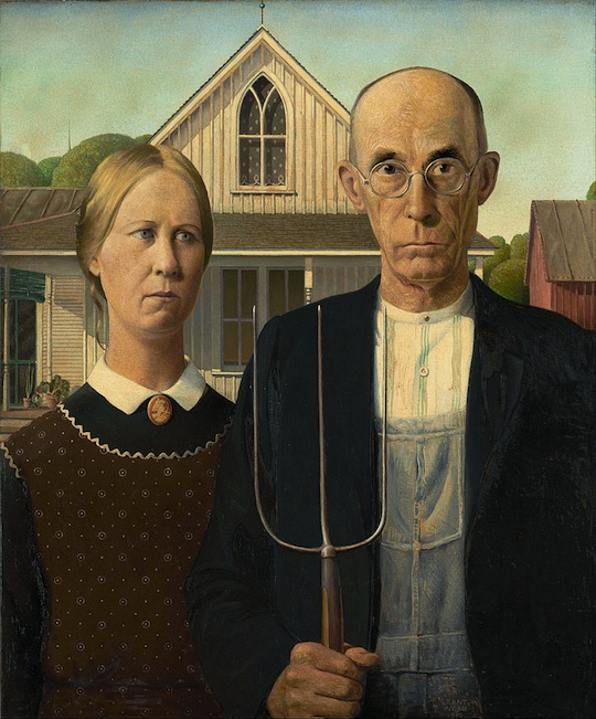 """American Gothic"", de Grant Wood. 1930 https://en.wikipedia.org/wiki/American_Gothic"